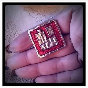 Vintage Square Red Enamel Ring